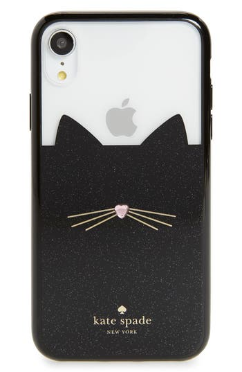 kate spade new york jeweled glitter cat iPhone X/Xs/Xs Max & XR case