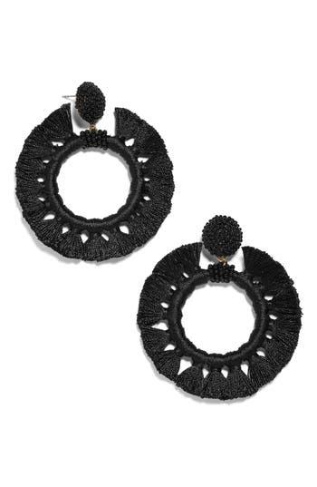 BaubleBar Beaded Tassel Hoop Earrings
