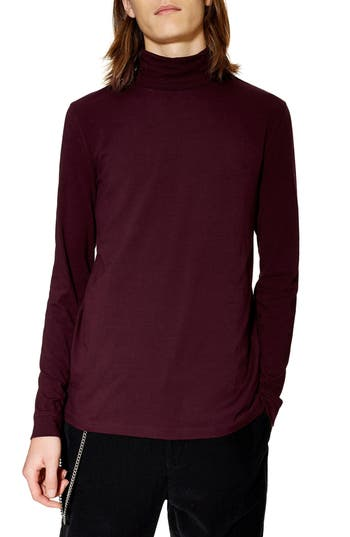 Topman Jersey Turtleneck Long Sleeve T-Shirt