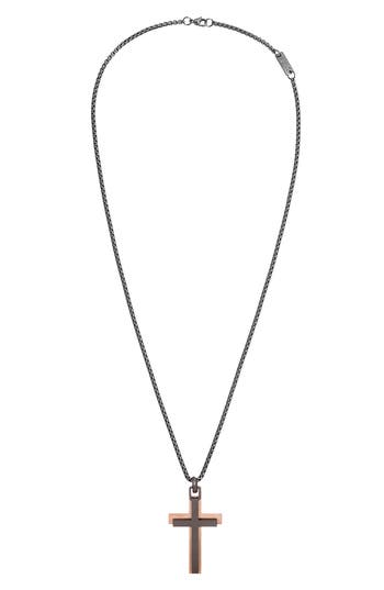 Steve Madden Two-Tone Cross Pendant Necklace