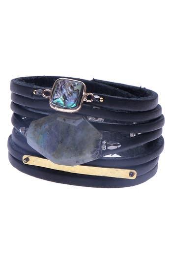 Nakamol Design Leather & Stone Wrap Bracelet