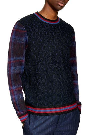Topman Tartan Sleeve Bouclé Sweater