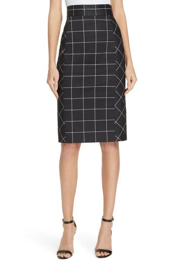 Milly Check Pencil Skirt