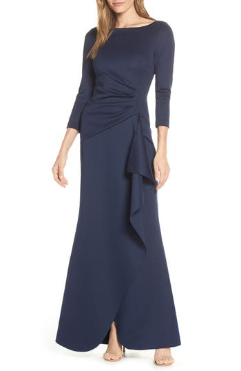 Eliza J Techno Scuba Pleat Evening Dress