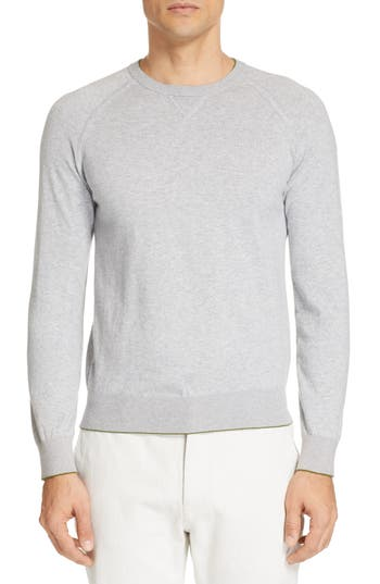 Z Zegna Extra Slim Cotton & Cashmere Crewneck Sweater