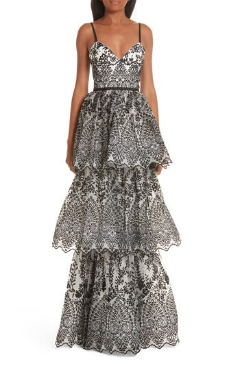 Marchesa Notte Tiered Eyelet Evening Dress