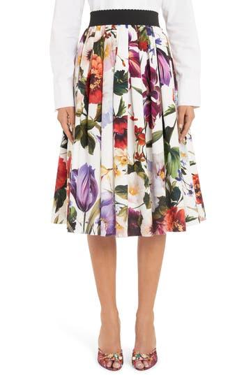 Dolce&Gabbana Floral Print A-Line Poplin Midi Skirt
