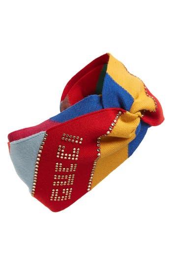 Gucci Crystal Logo Wool Knit Twist Head Wrap