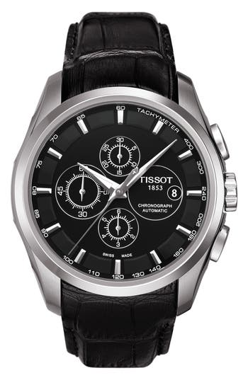 Tissot Couturier Automatic Chronograph Leather Strap Watch, 43mm