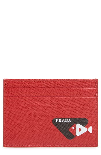 Prada Fish Logo Leather Card Case