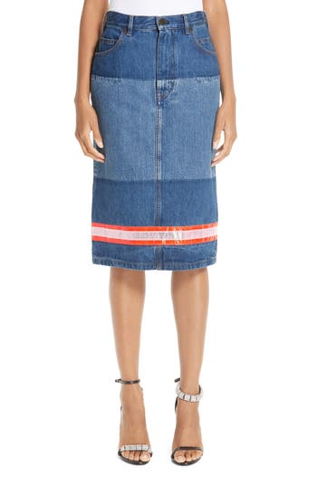 CALVIN KLEIN 205W39NYC Reflective Stripe Mixed Wash Denim Skirt