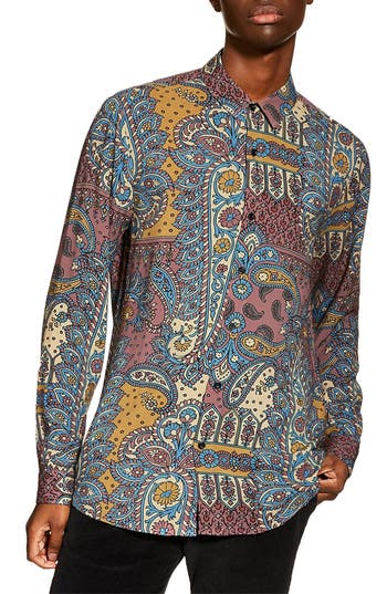 Topman Paisley Slim Fit Sport Shirt