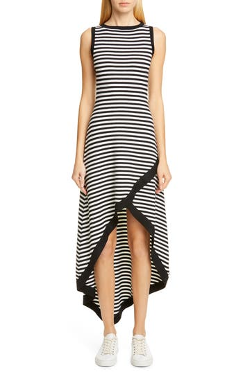 Victor Glemaud Striped High/Low Sweater Dress