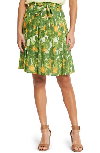 ModCloth Belted Floral Pleated Skirt