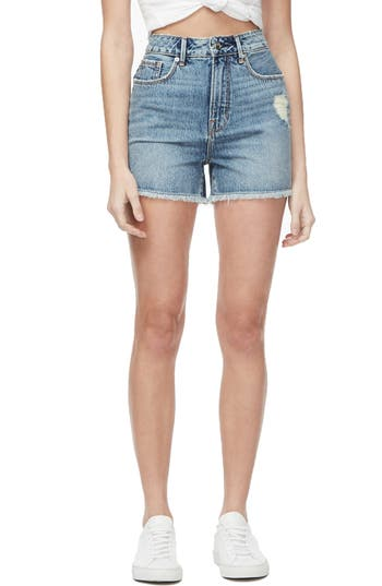 Good American Bombshell Distressed Cutoff Denim Shorts (Regular & Plus Size)