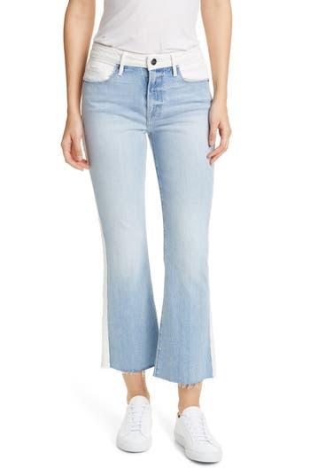 FRAME Le Crop Colorblock Raw Hem Jeans (Olin)