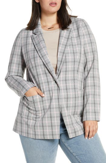 Treasure & Bond Plaid Blazer (Plus Size)