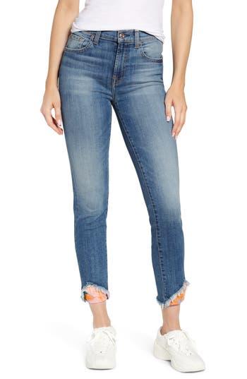 7 For All Mankind® Jacquard Frayed Ankle Skinny Jeans (Vintage Parker Insert)