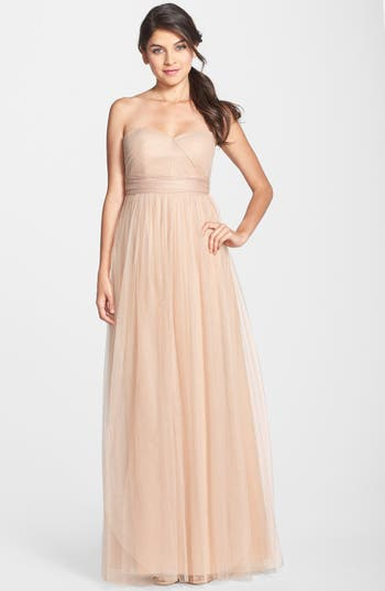 Jenny Yoo Annabelle Convertible Tulle Column Dress, Beige