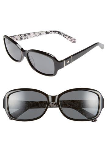 Women's Kate Spade New York Cheyenne 55Mm Polarized Sunglasses - Black/ Grey Polar