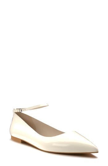 Shoes Of Prey Ankle Strap Flat, Beige