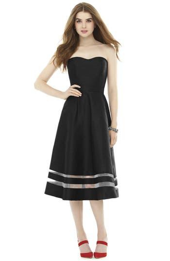 Alfred Sung Illusion Stripe Strapless A-Line Midi Dress, Black