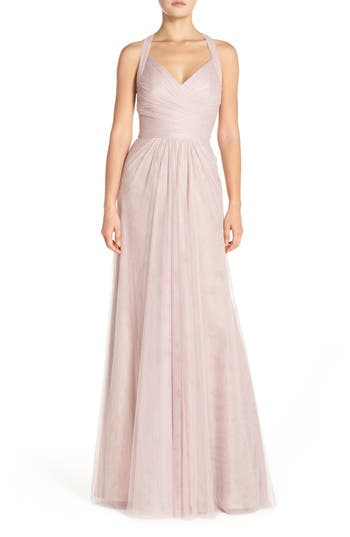 Monique Lhuillier Bridesmaids Sleeveless V-Neck Tulle Gown, Pink