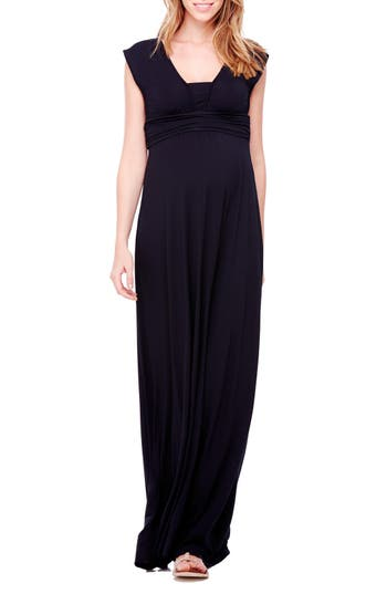 Ingrid & Isabel Empire Waist Maternity Maxi Dress, Black