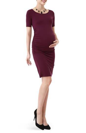 Kimi And Kai Demi Ruched Body-Con Maternity Dress, Purple