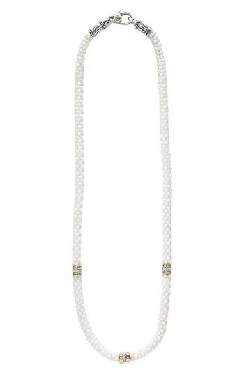 Women's Lagos 'White Caviar' 5Mm Beaded Diamond Station Necklace