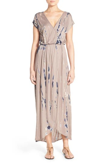Women's Fraiche By J Tie Dye Faux Wrap Maxi Dress, Size Small - Brown