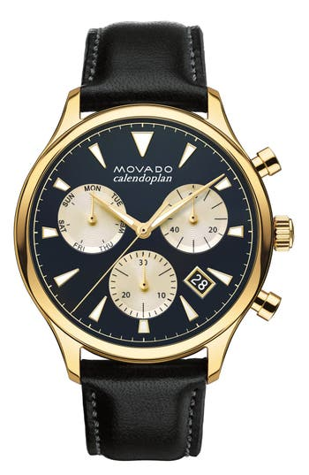 Movado 'Heritage' Chronograph Leather Strap Watch, 43mm