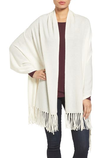 Women's Nordstrom Collection Fringe Cashmere Wrap, Size One Size - Ivory