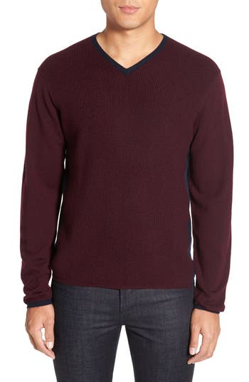 Zachary Prell V-Neck Colorblock Merino Wool Pullover, Red