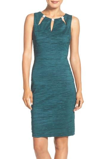 Eliza J Embellished Cutout Taffeta Sheath Dress, Blue