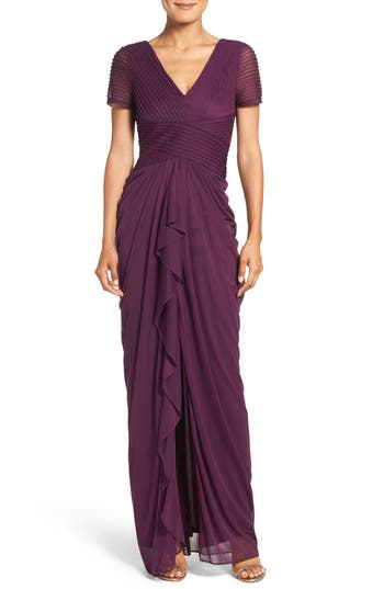 Adrianna Papell Draped Mesh Gown