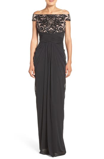 Adrianna Papell Sequin Lace & Tulle Gown, Black