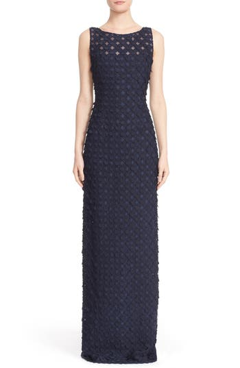 Carmen Marc Valvo Couture Circle Applique Sleeveless Column Gown, Blue
