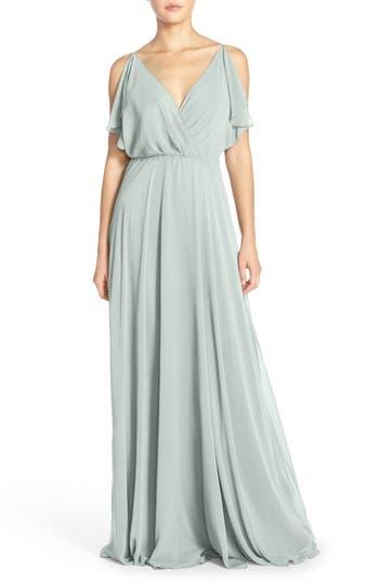 Jenny Yoo Cassie Flutter Sleeve Chiffon A-Line Gown, Green