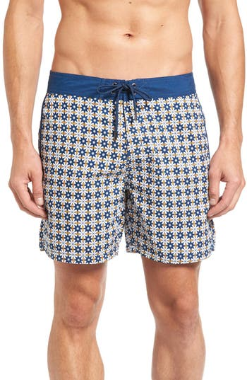 Mr. swim Star Tile Print Board Shorts