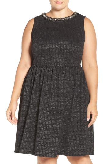 Plus Size London Times Embellished Stretch Fit & Flare Dress