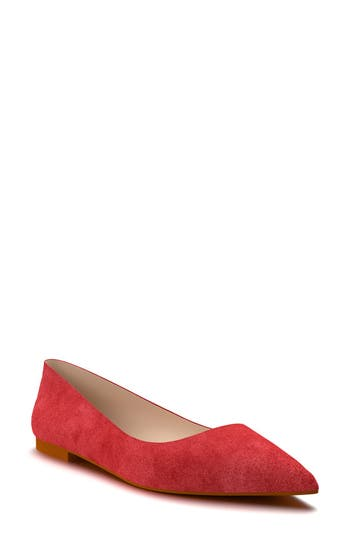 Shoes Of Prey Pointy Toe Flat, Red