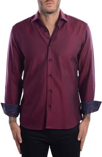 Men's Bertigo White Arrow Dobby Modern Fit Sport Shirt, Size XXX-Large - Red