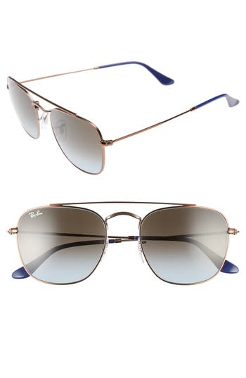 Women's Ray-Ban Icons 54Mm Aviator Sunglasses - Brown/ Blue