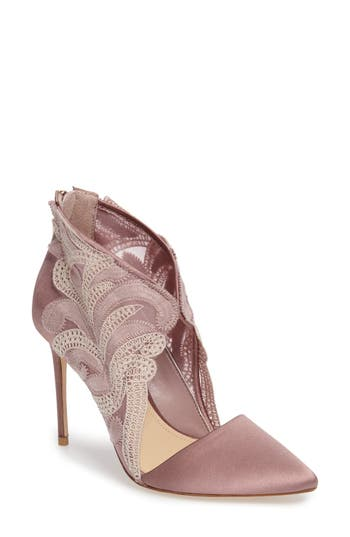 Imagine By Vince Camuto Obin Lace Detailed Pointy Toe Pump- Pink