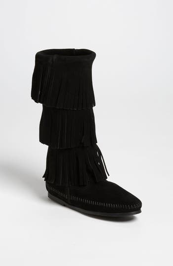 Minnetonka 3-Layer Fringe Boot, Black