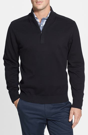 Big & Tall Cutter & Buck Broadview Half Zip Sweater - Black