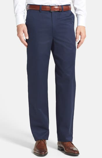 Nordstrom Men's Shop 'Classic' Smartcare™ Relaxed Fit Flat Front Cotton Pants
