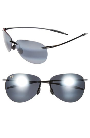 Maui Jim Sugar Beach 62Mm Polarizedplus2 Rimless Sunglasses - Gloss Black/ Neutral Grey