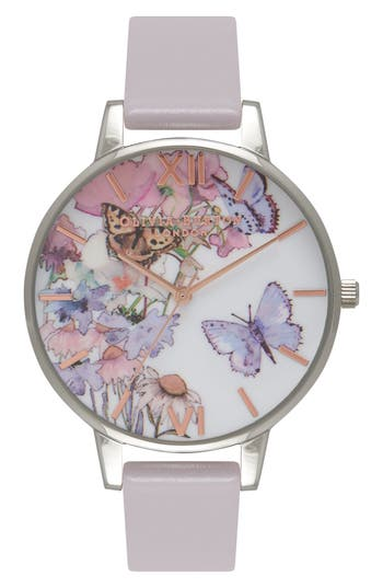 Women's Olivia Burton Painterly Prints Leather Strap Watch, 38Mm
